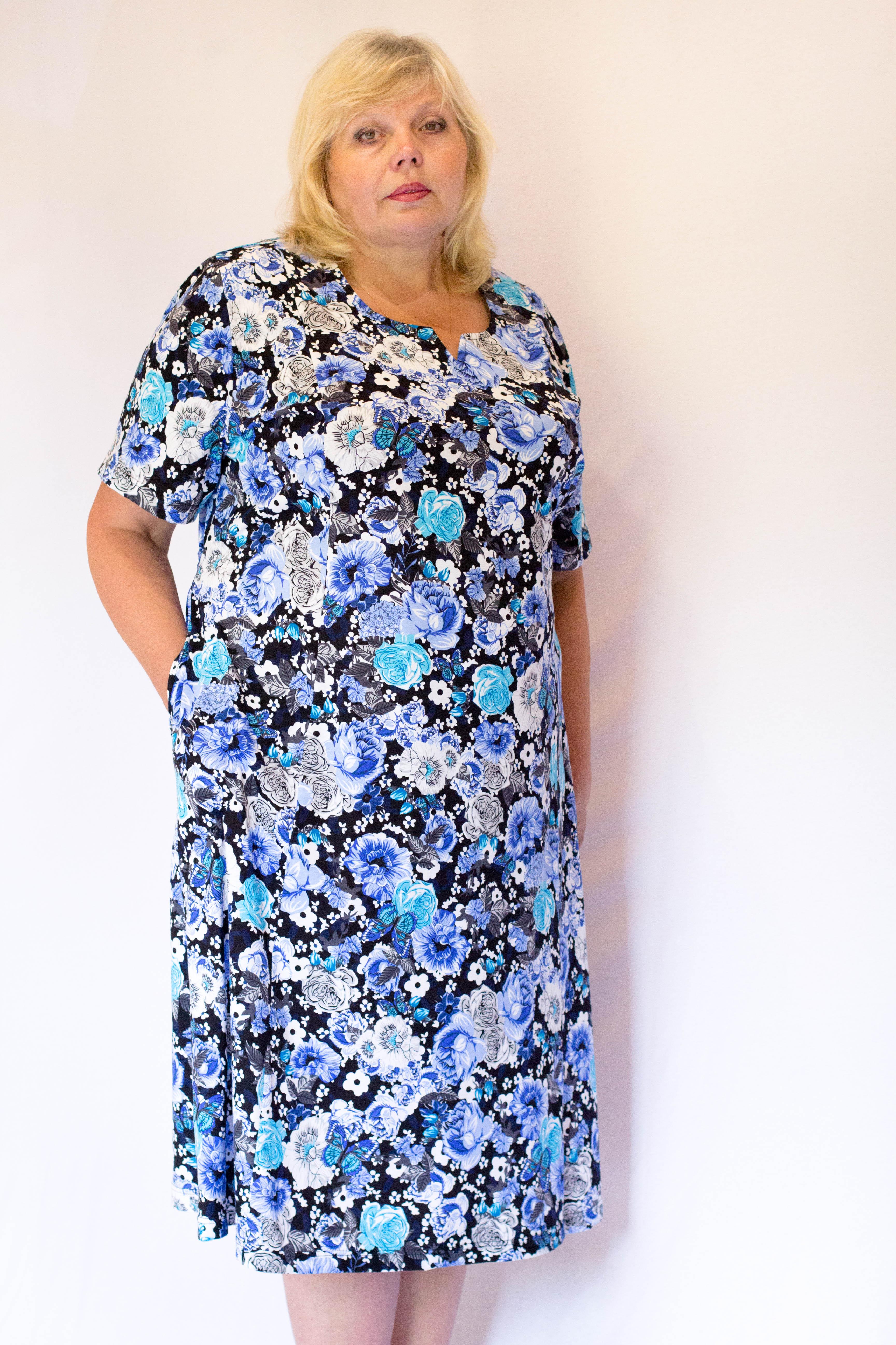 Изображение: Платье с рельефами с короткими рукавами
