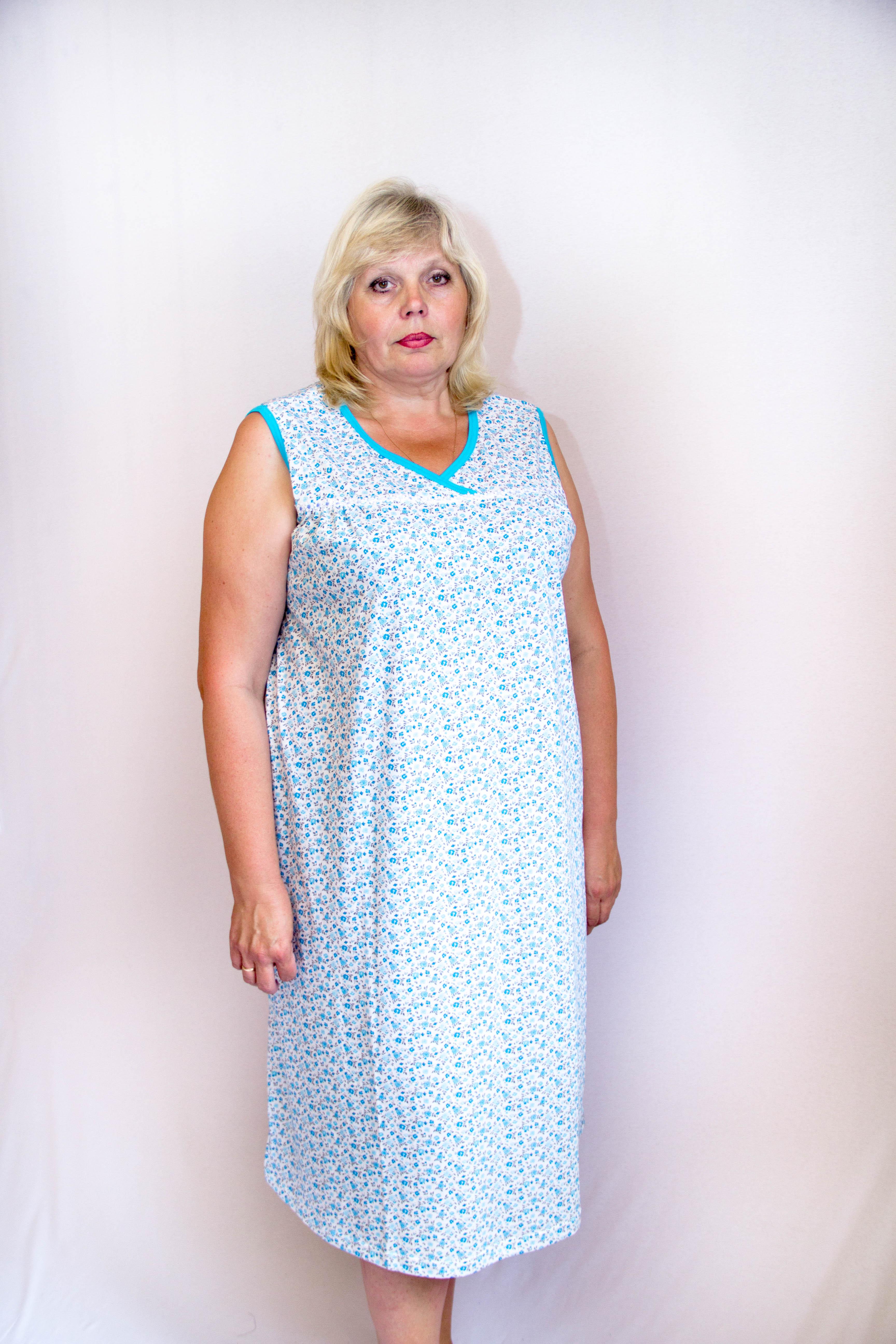 Изображение: Сорочка на кокетке без рукавов