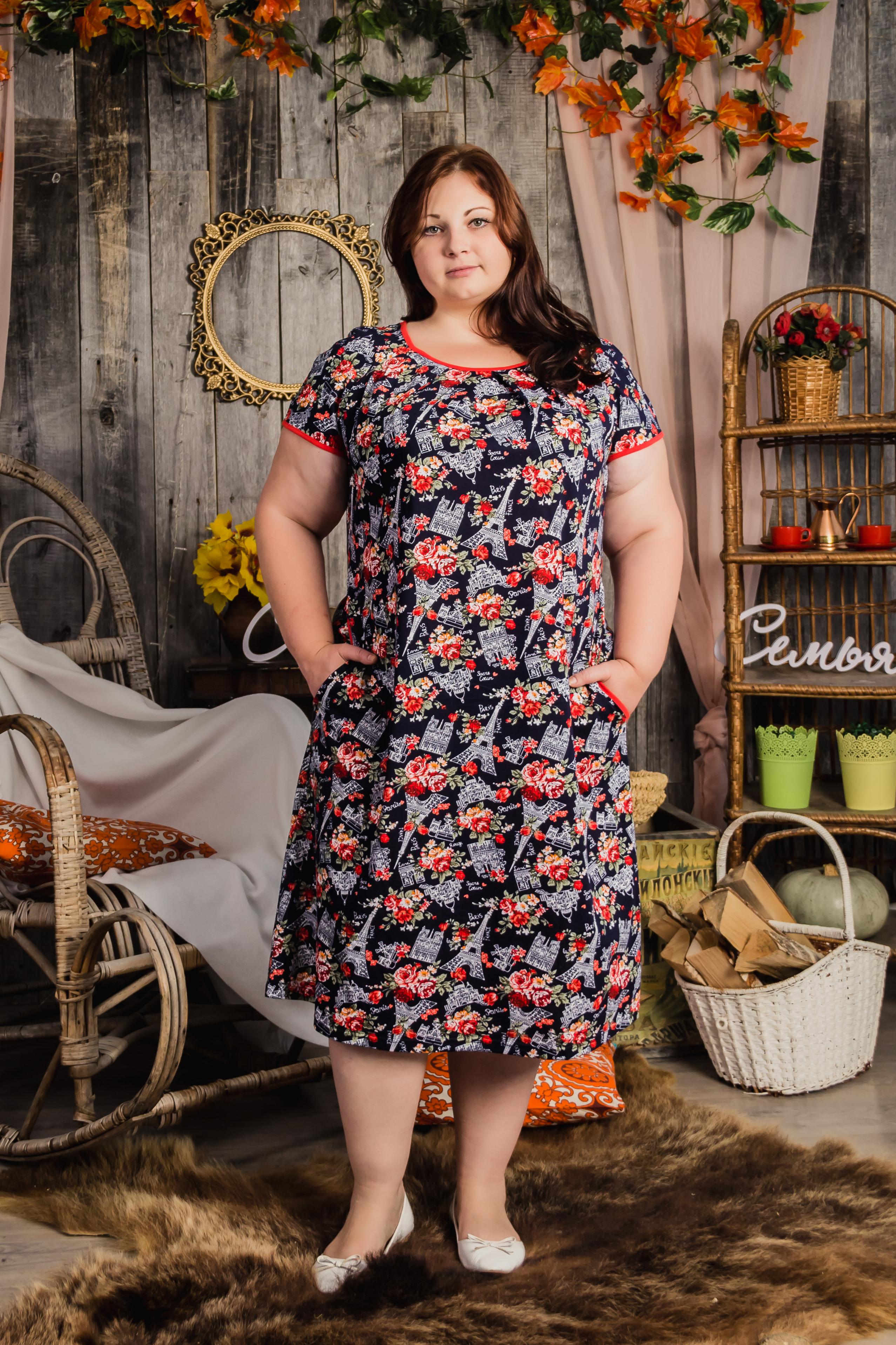 Изображение: Туника-платье со складками спереди, с короткими рукавами