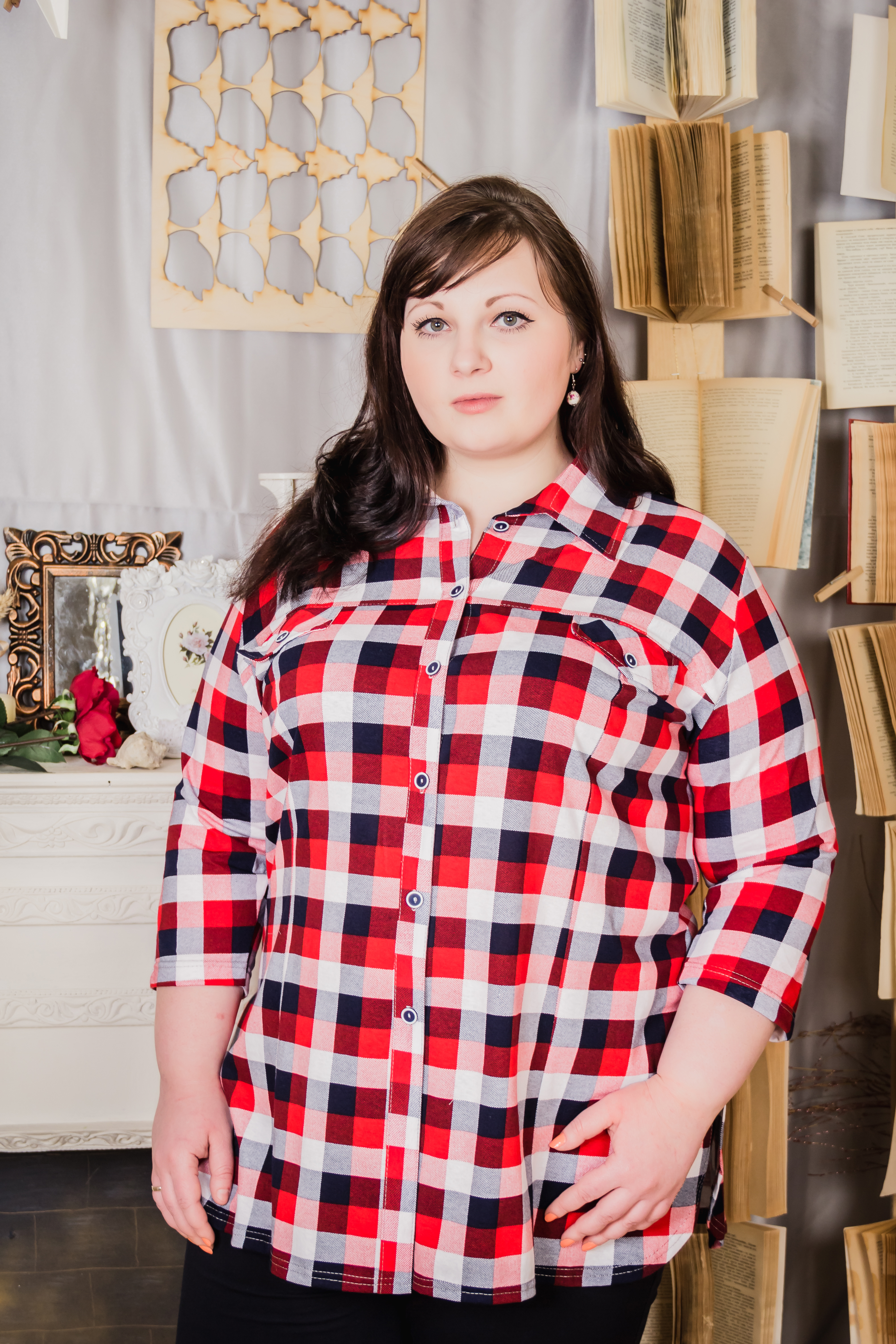 Изображение: Блуза-рубашка женская (клетка)